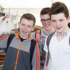 Malachi McBennett, Miceal Marron and Michael O'Farrell from Crossmaglen get aquainted with one of the goats at Balmoral Show. Photograph: Columba O'Hare