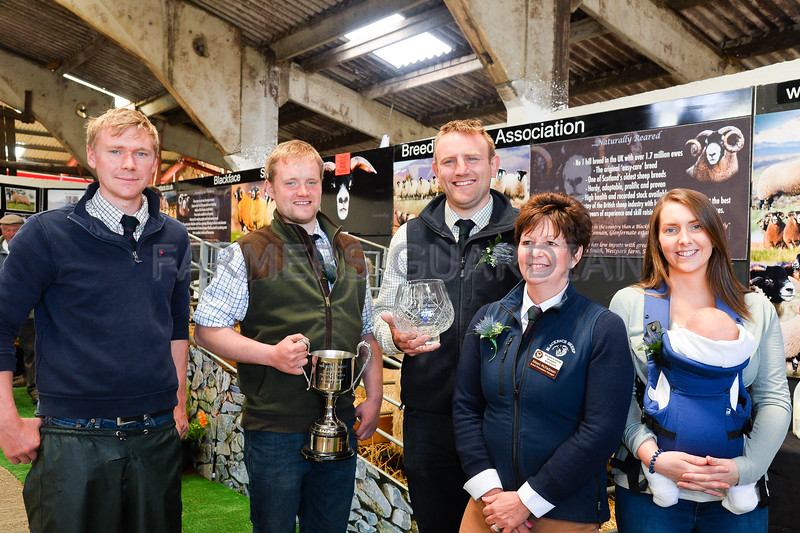 Best breed stand went to the Blackface sheep society, left to right Charlie Halbert, Dan Walton, Jamie Murray, Aileen McFadzean, and Rachel Halbert.