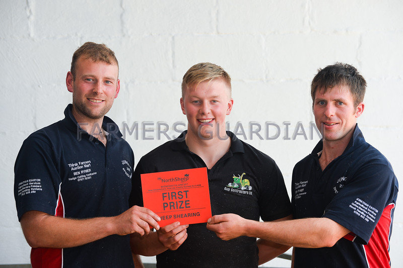 Shearing champions Yorkshire, left to right Johnathan Easton, Luke Bancroft, and Kevin Sayer.