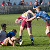 Wales YFC rugby. Carmarthenshire (blue) and Pembrokeshire (grey and red).