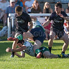 Wales YFC rugby. Ceredigion (dark colours) and Clwyd (white). Ceredigion won by 19 points to 17.