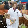 STIRLING SHOW 15 SWEET TREAT FOR THE EXHIBITORS IN THE YOUNG HANDLERS, TWO-YEAR-OLD PEYTON EDGAR FROM ALLOA IS SEEN WITH HER HELPER CAROL RETTIE FROM ABERDONA MAINS ALLOA,