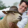 TURRIFF SHOW 15 CHAROLLAIS SHEEP AND INTERBREED CHAMPION FROM W&C INGRAM, LOGIE DURNO FARM,PITCAPLE, INVERURIE. SEEN WITH SUN HAT!