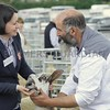 Hazel McNee, Over Finlarg Farm, Dundee seen judging the Bluefaced Leicester Sheep at Turriff Show