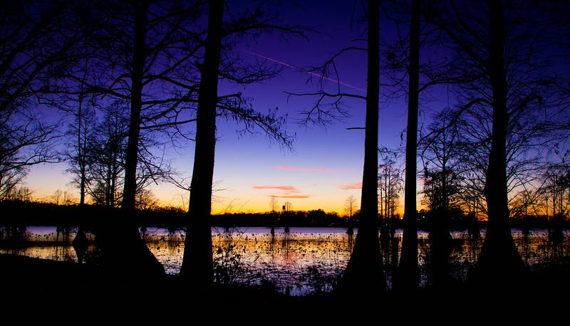 Sunset over Caddo Lake In Louisiana