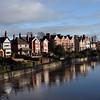 riverside properties at Castlefields, Shrewsbury.