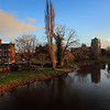 River Severn, Mytton and mermaid hotel and St Eta's church, Atcham.