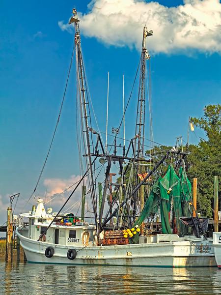 """The Miss Kathy""<br /> Village Creek docks<br /> St. Helena Island, SC"