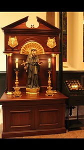 Shrine of St Francis, installed October 2016, surround by Philip Forbes to Father Swain's design