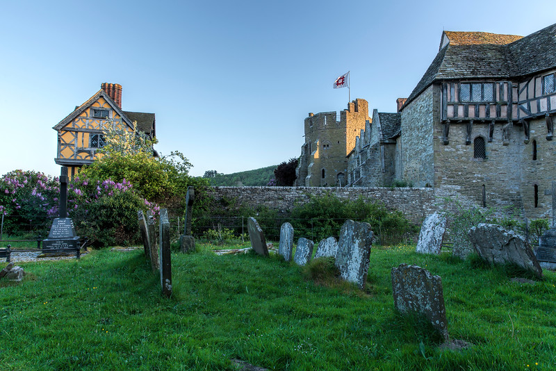 View of Stokesay Castle from Stokesay Parish Church Graveyard
