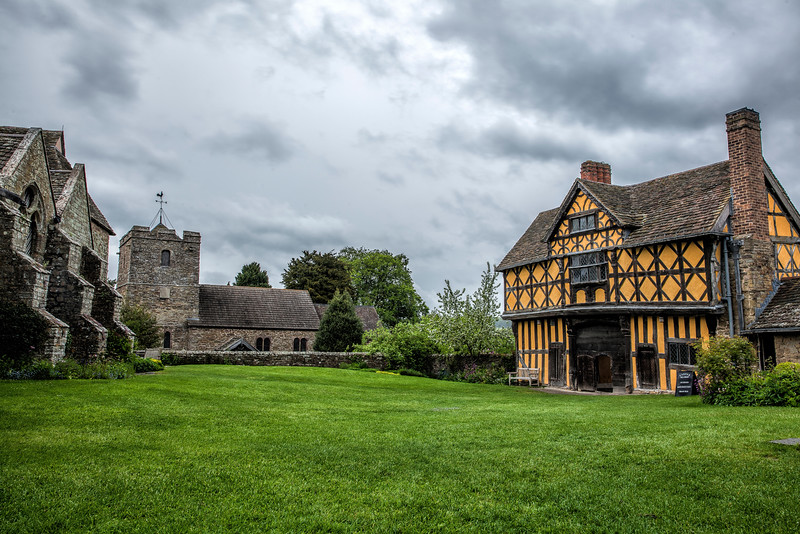 Stokesay Castle, Gatehouse and Parish Church from the South Tower roof