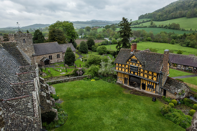 View of the Gatehouse and Stokesay Parish Church from Stokesay Castle