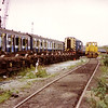 08200 sits among class 50 bogies and redundant DMU carriages at Booths, Rotherham on 23rd August 1992