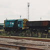 08141 'MANVERS' is seen with a solitary coal hopper in Tinsley Yard on 28th July 1990
