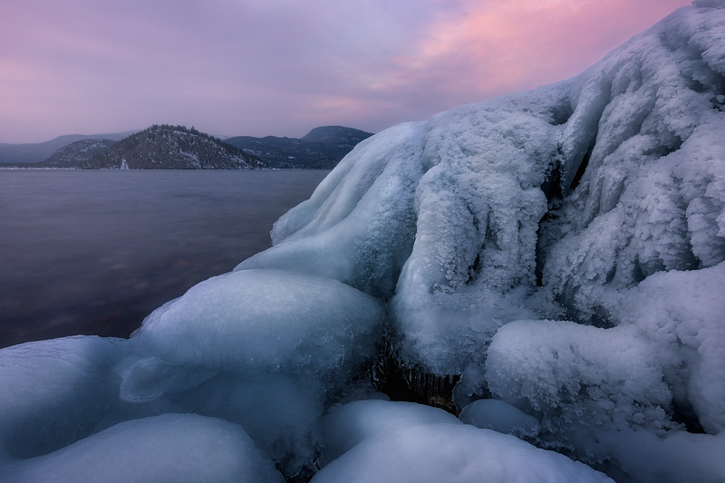 Ice formations in Blind Bay in -30 degree weather.
