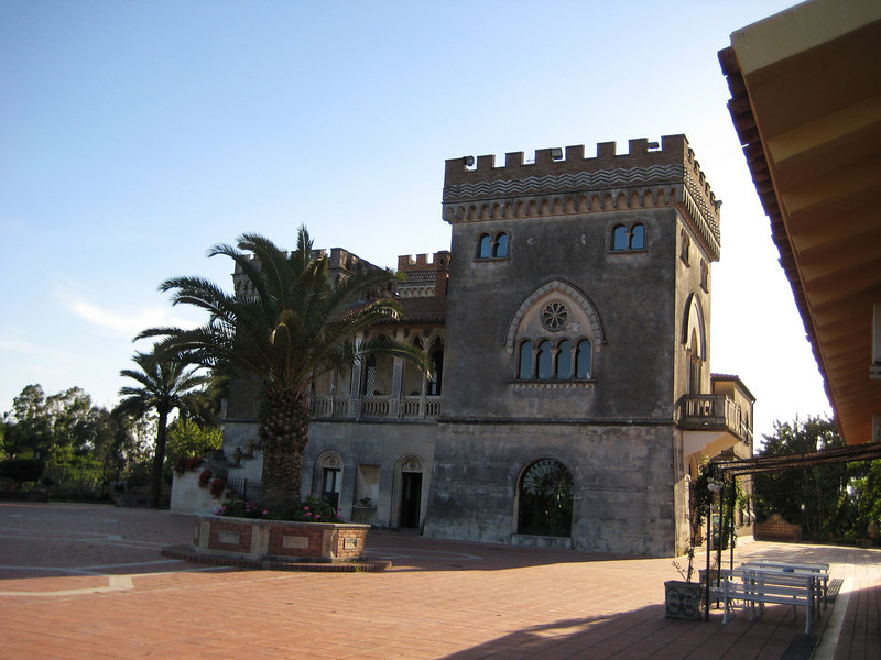 The Castello d'Urso Somma B&B on the outskirts of Catania. The owners live in the castle; there are 2 guesthouse complexes adjacent on a large fenced property with giant pool & tennis courts. 5-10 minutes from Catania airport.