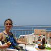Lunch on the terrace of the Hotel la Giara, looking north into the Tyrrhenian sea