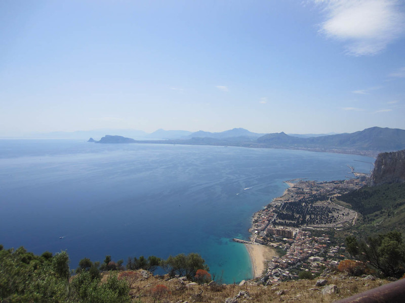 View from the top of Monte Pellegrino, looking east. Palermo is around the bay on the centre right.