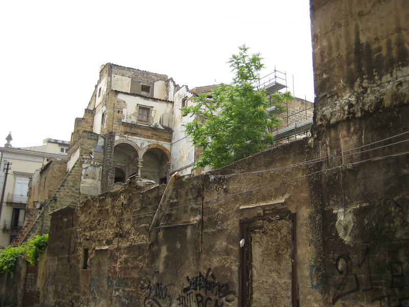 More bombed out buildings still awaiting repair from the 1943 Allied invasion, but still in use. The Albergheria Quarter, off Corso Vittorio Emanuele