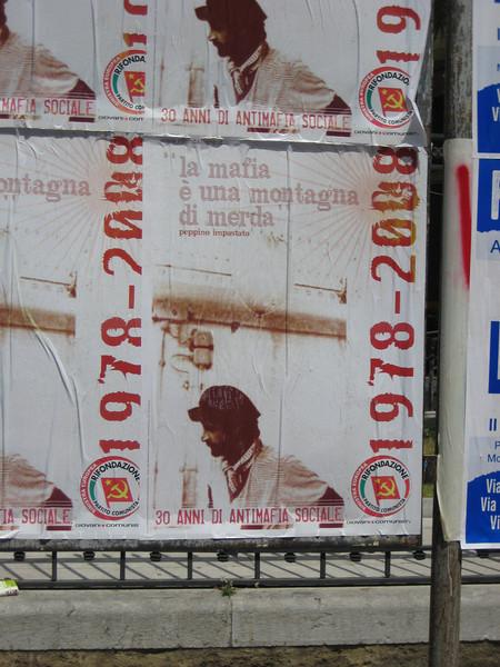 "Palermo: Anti-mafia poster: ""the mafia is a mountain of shit"""