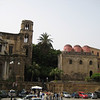The churches of la Martorana (left c. 1146) & San Cataldo (right c. 1160), Piazza Bellini