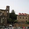 The churches of la Martorana (left c. 1146) & San Cataldo (right c. 1160), Piazza Bellini