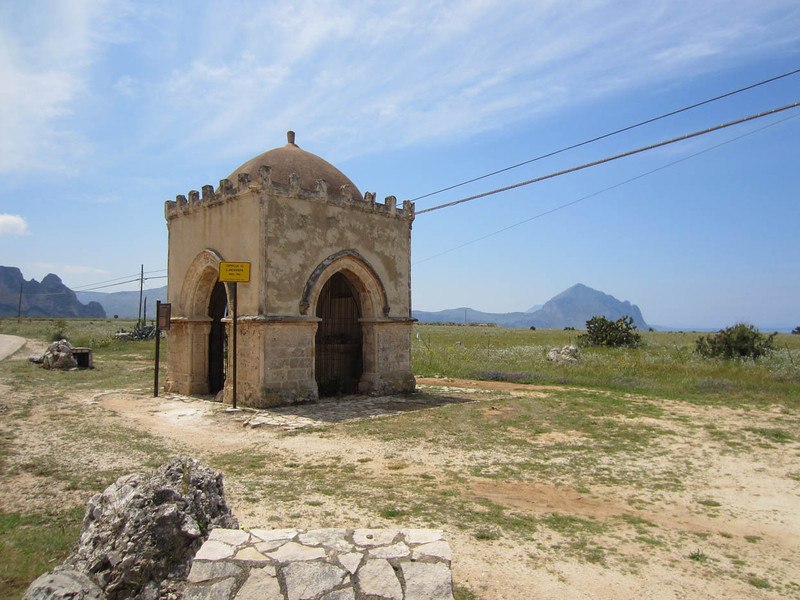 "Chiesa Santa Crescenzia, south of San Vito lo Capo. Built late 1400's / early 1500's, with Arabic, Norman & Gothic influences. There is an ancient belief that San Crescenzia, wet-nurse to San Vito, had the power to drive away fear (""u scantu""), and that this could be triggered by throwing a pebble into the chapel."