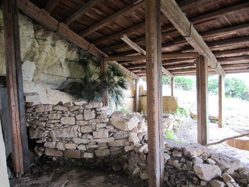 The most ancient of the known habitations on Monte Barbaro - houses built on the slopes, cut into the rock, circa late 500 BC