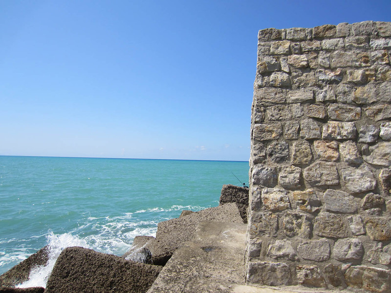 The sea wall, looking north from Cefalú harbour