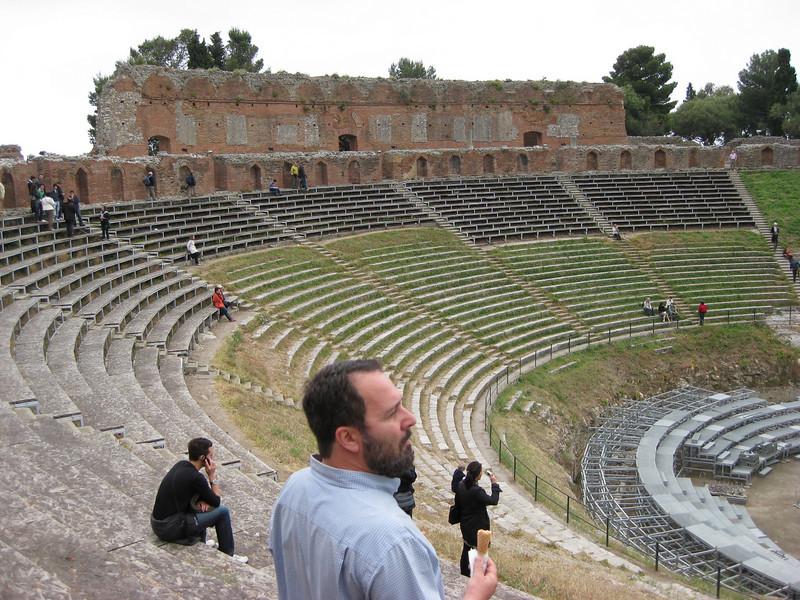 Surveying the amphitheatre