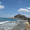 At the far edge of the beach, looking back eastward to Cefalu