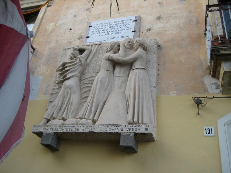 Aci Trezza: Giovanni Verga plaque