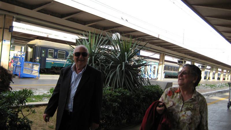 Giovannia & Maria at Palermo train station