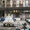 Vucciria Quarter: a fountain in the bombed-out grffitied piazza