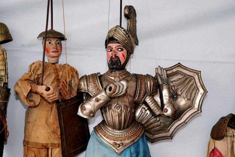 Vintage Sicilian puppets, part of a special collection that is displayed annually at the Sicilian Festival