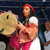 The world-renowned percussionist Alessandra Belloni appears on stage at the Sicilian Festival.