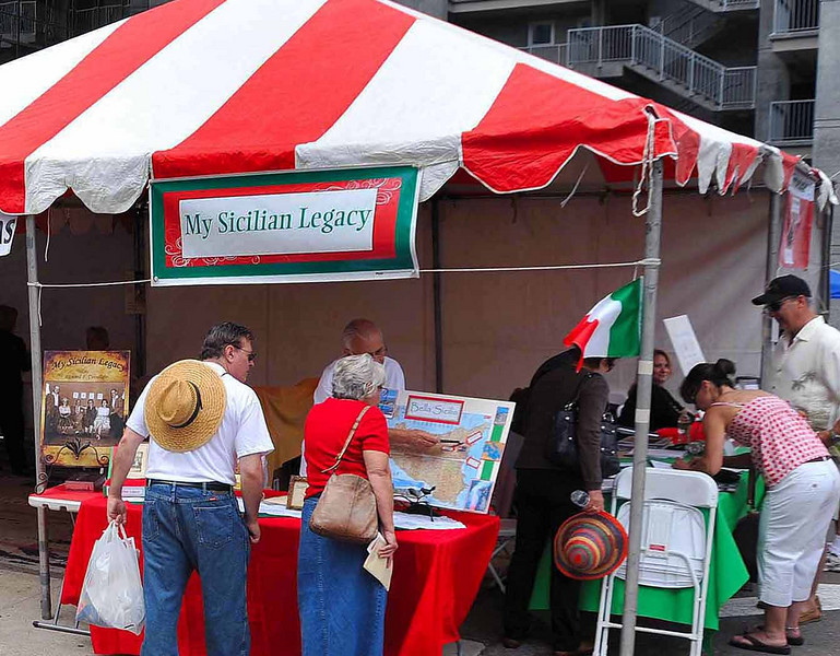 Visitors learn more about their family roots at the Sicilian Festival Culture area.