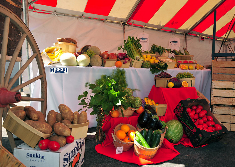 Display of typical Sicilian vegetables and fruits.