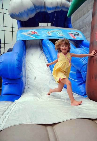 Enjoying the slide available for kids to enjoy at the Sicilian Festival--all kids' activities are free
