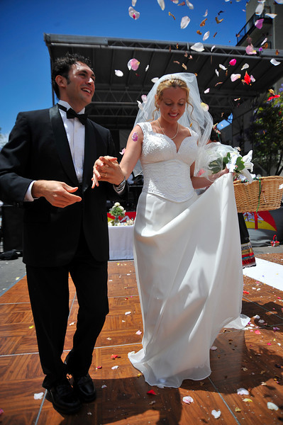 Sicilian Wedding, Couple with Flower Petals
