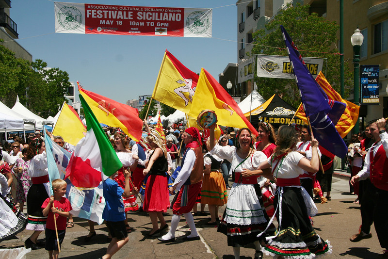 Dancing in the street is part of the excitement of San Diego's Sicilian Festival.