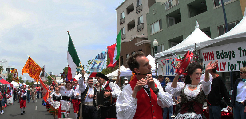 The highlight of the festival is a colorful parade at noon through the streets of San Diego's Little Italy neighborhood.