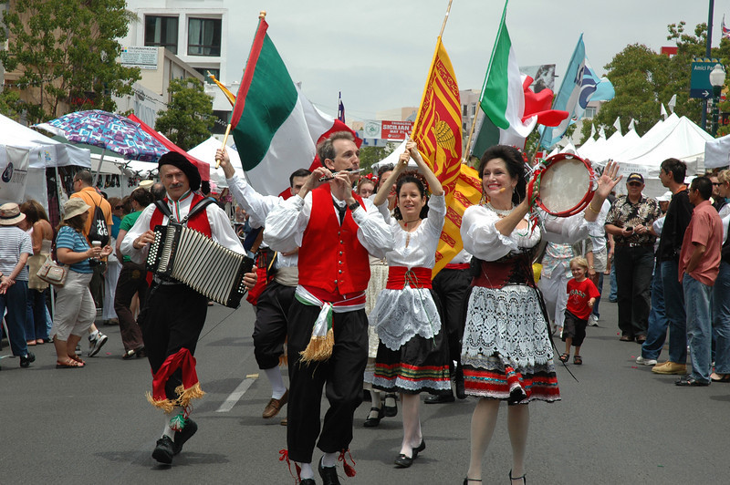 One of the highlights of the Sicilian Festival is the procession through San Diego's Little Italy at noon, featuring costumed musicians and dancers.
