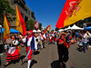 The Sicilian Flag adds the color to the procession welcoming visitors to the 2008 Festa Siciliana San Diego.