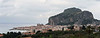 Panoramic view of Cefalu which dominated by La Rocca and the Duomo.