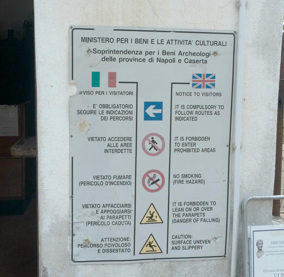 Villa Jovis warnings