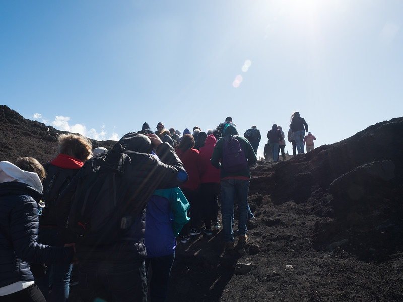 Climbing Mt Etna, It was cold, crowded and very windy .