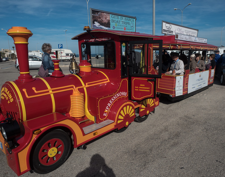 The Choo-Choo train to Polignano di Mare from the bus parking lot