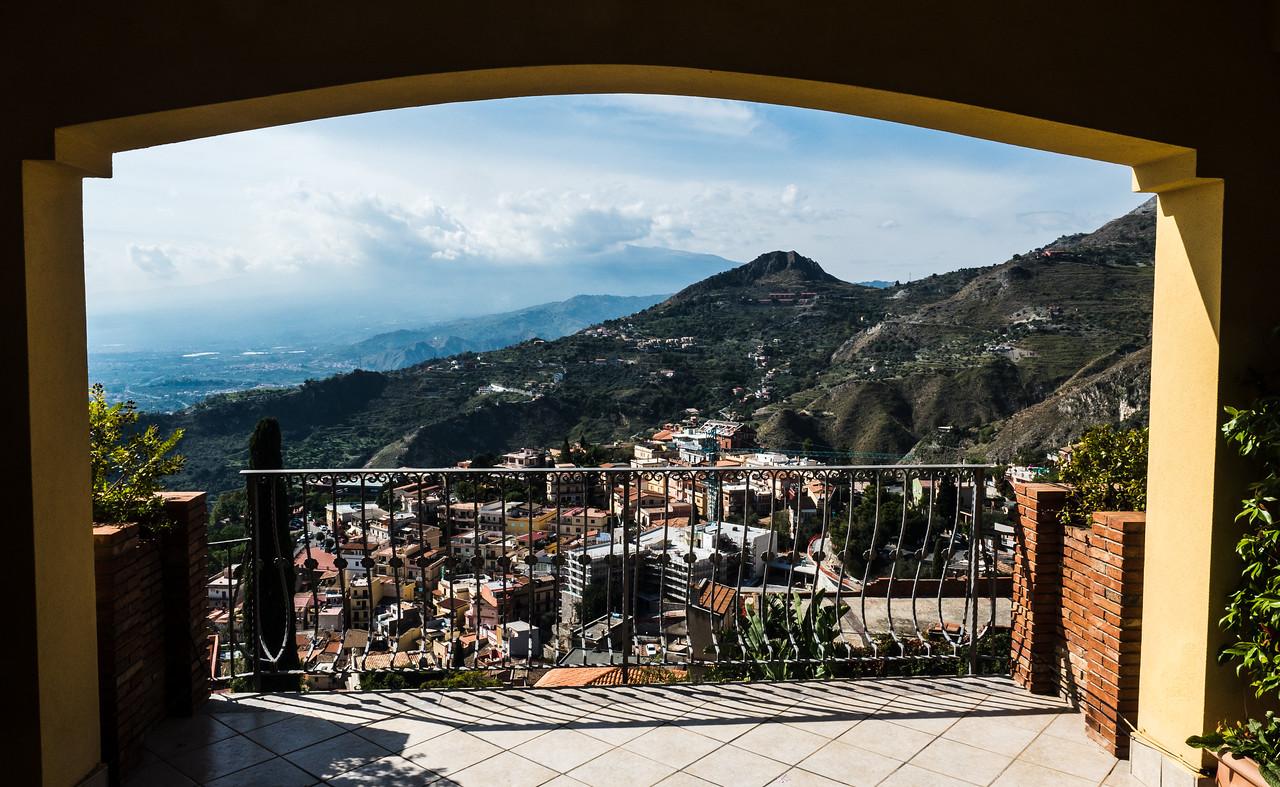 View from room at Villa Angela Hotel, Taormina