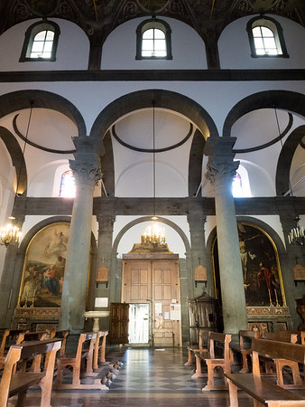 Interior of Santa Maria's Church of Randazzo. Black pillars and trim are made of black lava stone from Mt. Etna.